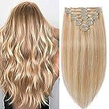 Extensions a Clip Cheveux Naturel #18+613 Sable blond Méché Blond très clair - Rajout Cheveux Humains Naturels 25cm-70g