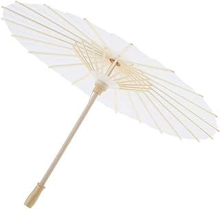 ミニチュア紙傘 ドールかさ 人形の傘 油性傘 装飾プロジェクト 部屋装飾 ホワイト 全3サイズ - L