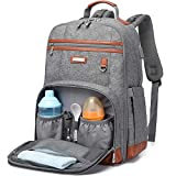 Baby Diaper Bag Backpack for Mom, Travel Bookbag Diaper Bags Back Pack with Changing Pad for Boy Girl, Waterproof, Large Capacity, Grey