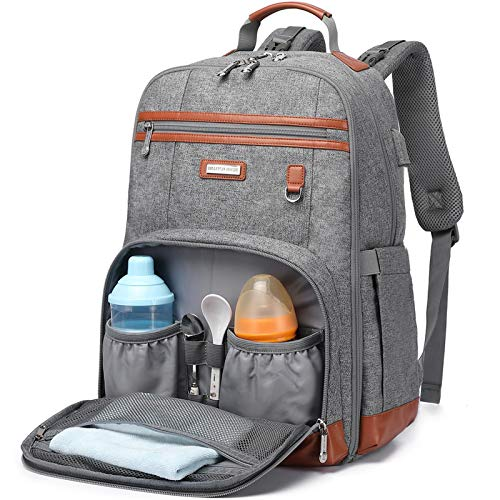 Diaper Bag Backpack, Maternity Nappy Changing Bags, Multifunction Waterproof Large Capacity Travel Back Pack with USB Charging Port for Baby Boy and Baby Girl