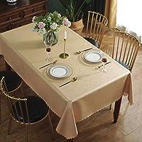 Qualsen Mantel Antimanchas Rectangular Impermeable, 140 x 180 cm, Manteles Mesa Decorativo para Hogar Comedor del Cocina, Dorado Champagne