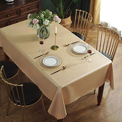 Qualsen Mantel Antimanchas Rectangular Impermeable, 140 x 220 cm, Manteles Mesa Decorativo para Hogar Comedor del Cocina, Dorado Champagne