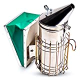 Foxhound Bee Company Large 12 1/2-inch Pro Stainless Steel Smoker for Beekeeping with Tall Heat Chamber, Burn Shield, Green Bellow and Heavy Duty Features