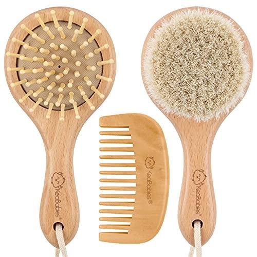 Baby-Runden Haarbürste und Kamm-Set für Neugeborene - Natürliche Holz-Haarbürste mit weichen Ziegenborsten gegen Milchschorf - Perfektes für Säuglinge, Kleinkinder, Kinder - Baby-Register
