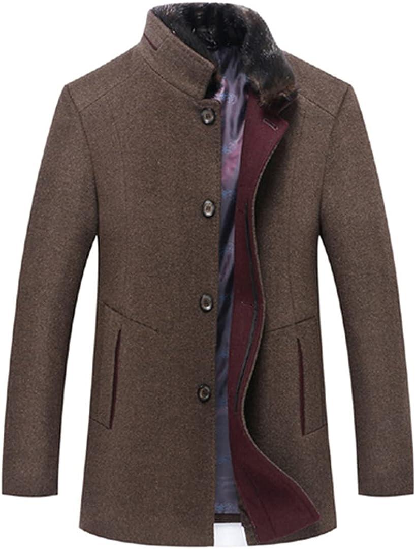 Wool Coats Thicken Men Woolen Coat Warm Overcoat Fur Collar Jackets