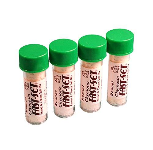 4 x Rennet Chymosin Fast-Set 7 Gramm Mix für 50 Liter Milch Rennin Käse-Salz & Gerinnungsmittel Dose ...