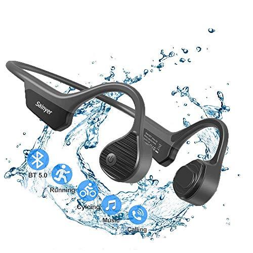 Cuffie sportive Bluetooth 5.0 con cavo osseo con auricolari senza fili con orecchie aperte, leggere, con microfono, 8H Play HiFi, impermeabili IPX7 per corsa, guida, ciclismo