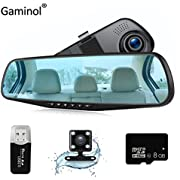 Car Camera Dash Cam Rear View Mirror Car Video 1080P Car Driving Recorder Mirror Camera Dual Lens Vehicle Camera Car DVR with G-Sensor Loop Recording Parking Mode Motion Detection with Car Charger