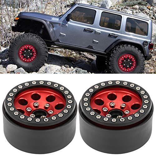Oreilet Cubo de llanta de Coche RC, Eje de Rueda de Oruga RC de Orificio Redondo de 1,9 Pulgadas y 8, aleación de Aluminio sin Adhesivo para camión RC(Black Red)