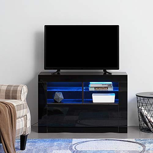 Panana Meuble TV LED en MDF avec 5 Compartiments de Stockage sur Salle de Séjour, Salon et Chambre à Coucher, 100 x 35 x 65 cm (Noir)
