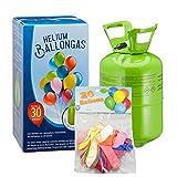 Unbekannt Helium Ballongas für bis zu 30 Luftballons inkl. 20 Stück Latex Luftballons