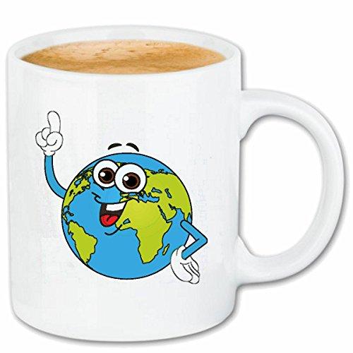 Reifen-Markt Kaffeetasse Smiley ALS GLOBUS ALS WELTKUGEL Smileys Smilies Android iPhone Emoticons IOS GRINSE Gesicht Emoticon APP Keramik 330 ml in Weiß