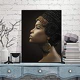 Aceite De La Mujer Africana Reina Egipcia Negro Cartel De La Pintura De La Decoración Casera La Antigua Reina De Etiopía Imagen De La Del Arte De La Pared Cuadro Colgado (Size (Inch) : 60x80cm)