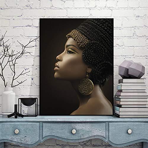Ägyptische Königin Schwarze Frauen Gemälde Afrikanische Frau Poster Leinwand Wohnkultur Die alte Königin von Cush Bild drucken Wall Art WWJYB0055 Hohe Qualität (Size (Inch) : 60x80cm)