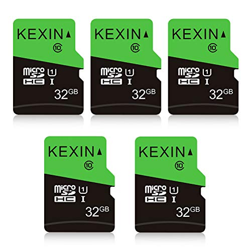 KEXIN 32Go Carte Micro SD, Lot de 5 Cartes Mémoire MicroSDHC 32 Go UHS-I U1 C10, Carte TF pour Drone/Dash Cam/Appareil Photo de Sport/Caméra de Surveillance Dôme Espion/Smartphone/Switch Pro
