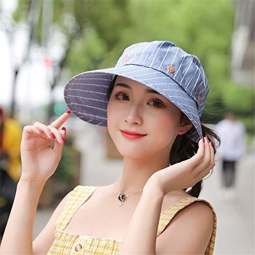 LTH-GD Sombrero de invierno con protección UV, visera desmontable para playa, verano, diseño de rayas, color azul, talla libre