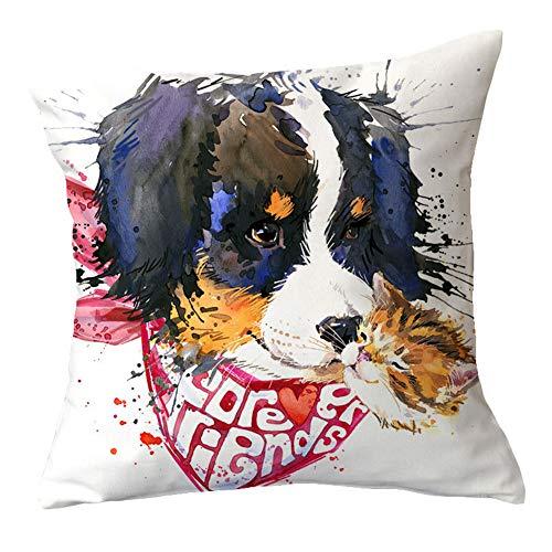 NDANH9896 Katzen und Hunde in der Liebe abstrakte lustige Gekritzel einfachen Stil Leinenstoff verblasst nie 45X45 cm