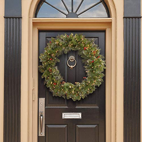 36 Inches LED Christmas Wreath for Front Door with Pinecones Red Berries Pine Cones Lighted Christmas Wreath with LED Warm White Lights for Winter Holidays Home Christmas Decorations