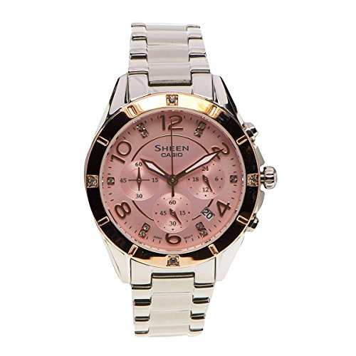 Casio Women's Sheen SHE5021SG-4A Silver Stainless-Steel Quartz Watch with Pink Dial