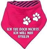 Hunde Wende- Halstuch (Fb: pink-navy) (Gr.2 - HU bis 38 cm) Ich tue doch nichts ich will nur spielen