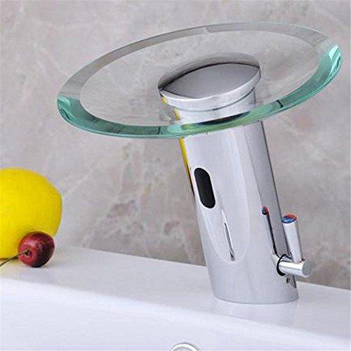 WATER TOWER Grifería - Grifo monomando de lavabo,Válvula Solenoide Con Sensor De Latón Cromado Moderno Manos Libres Cristal De Cromo Salida En Cascada Grifo De Lavabo De Baño