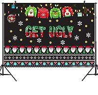 DULUDA 粘着性クリスマスセーター パーティー背景 赤と緑 アグリークリスマスパターン 写真背景 冬 子供 エルフ フォトブースデコレーション ステップとリピートバナー 招待状