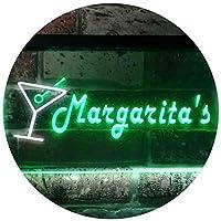 Margarita's Cocktails Bar Illuminated Dual Color LED看板 ネオンプレート サイン 標識 白色 + 緑色 300 x 210mm st6s32-i0521-wg