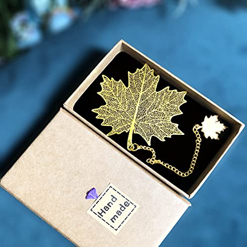 SUOXU Metal Leaf Bookmarks,Exquisite Crafts Gifts, Retro Brass Bookmarks...