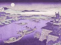 ArtVerse HOK062A3648A Japanese River In Moonlight In Purple Removable Art Decal 36 x 48 [並行輸入品]