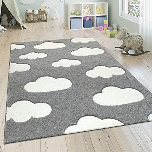 Paco Home Alfombra Infantil Moderna Pastel, Habitación Infantil, Diseño Nubes, tamaño:140x200 cm, Color:Gris