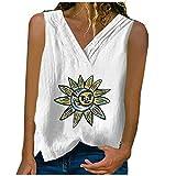 Keepfit Women's Short Sleeve Loose Cotton Linen Printed V-Neck Sleeveless T-Shirt Vest Top White