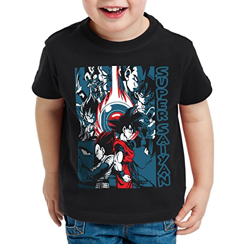 style3 Goku Vegeta Super Saiyan Camiseta para Niños T-Shirt Turtle Ball z Roshi Dragon, Talla:104
