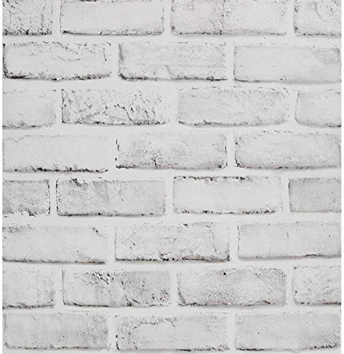 ZHAO White Grey Brick Effect Wallpaper Hellgrau Selbstklebende Rustikale Kontaktpapierrolle Peel and Stick Back Splash Zum Dekorieren Von Küchenschlafzimmern 45x500 cm(Size:45 * 500CM)