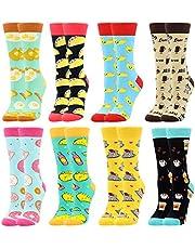 Damessokken Kleurrijke Grappige Sokken voor Vrouwen Nieuwigheid Crew Office Pack Voedselsokken Leuke Cool Crazy Casual Gekamd Katoen Cadeau voor Meisjesvrienden