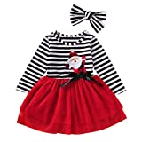 Toddler Kids Baby Girls Christmas Tulle Dress Santa Striped Print Midi Skirt+Headband 2Pcs Outfits (Red, Age:2-3 Years)
