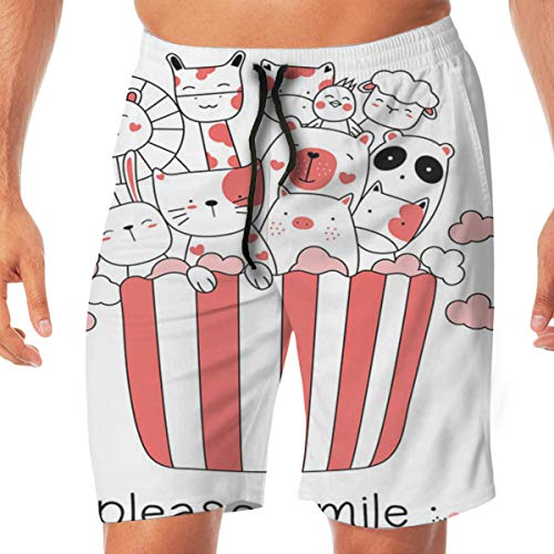 Beach Shorts Nettes Tierbaby mit handgezeichnetem Cartoon-Stil Schnelle trockene Geschwindigkeit Kordelzug Sommer Kurze Hosen für Männer, Jungen