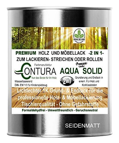 750ml. Holzlack Möbellack Klarlack 2 in 1 Grundierung + Lack Tischlerlack Versiegelung farblos für Kinderspeilzeug (SEIDENMATT)