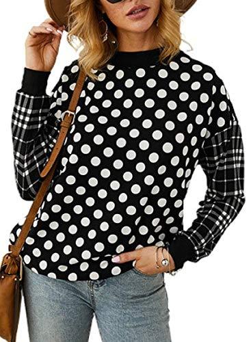 FOBEXISS Camiseta de manga larga para mujer, diseño de lunares, estampado liso, cuello redondo, manga larga