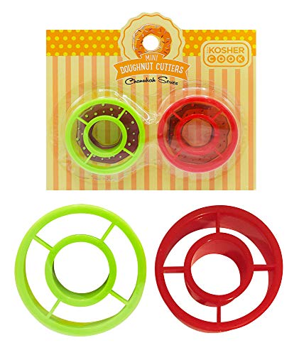 Mini Donut Cookie Cutters – 2 Piece Set – Plastic Doughnut Shaped Cutter - Chanukah Cookware and Bakeware by The Kosher Cook