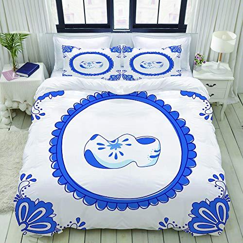 Dodunstyle Bettbezug, Blaue Fliesen mit einem Paar typisch holländischer Schuhe, Bettwäscheset Ultra Bequeme, leichte Luxus-Polyster-Bettbezüge