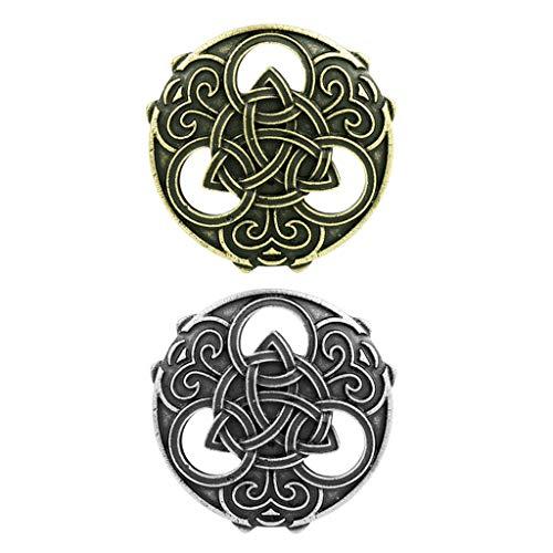 F Fityle 2 Piezas Retro Vikingo Nórdico Nórdico Broche Capa Chal Joyería Hebilla Broche Insignia