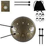 Zhruns Steel Tongue Drum - 8 tones 6 Inches-Percussion Instrument -Handpan Drum with Bag, Mallets, Finger Picks, Notes Stickers for Personal Meditation, Yoga, Zen (Brown)