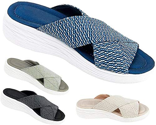 Gsdxz Stretch Cross Orthotic Slide Sandals,Casual Beach Slip on Comfort and Support Sandals (Blue, 35)