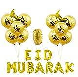 Decoración De Globos De Fiesta De 23 Piezas Para Eid Musulmán,Látex Natural,Sin Sustancias Nocivas,Amarillo