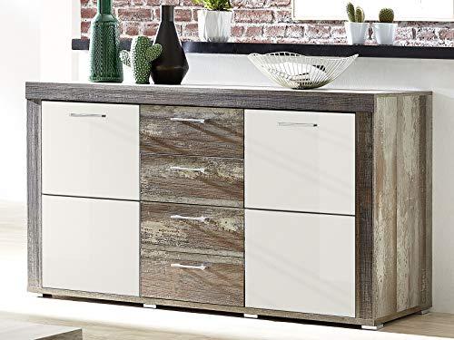 möbelando Sideboard Standschrank Anrichte Beistellschrank Kommode Schrank Laraine I Driftwood/Weiß-Hochglanz