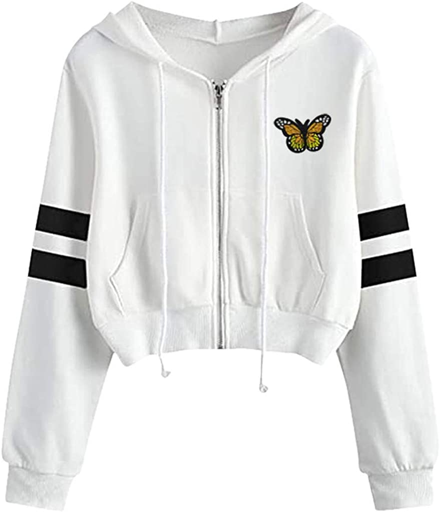 ORT Women Sweatshirt Zip Up, Hoodies for Women, Women's Cute Sweatshirts Butterfly Print Long Sleeve Hoodie Pullover Tops