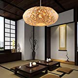 Bamboo Rattan Chandelier Woven Rattan Nest Lampshade Chinese Style Pendant Lamp Ceiling Lamp Suitable for Restaurants, Dining Rooms, Cafes, Living Rooms 50CM
