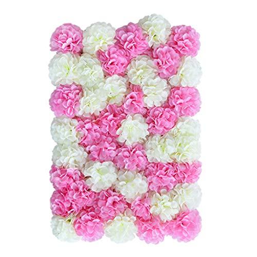 Ping- Panel De Flores Artificiales De Seda 40x60cm / Pieza, Hortensia, Pétalos De Rosa, Panel De Pared Interior Casa Tienda Creativo Colgante De Pared Arte Floral 6 Estilos
