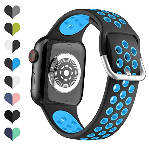 YPSNH Kompatible für Apple Watch Armband 38mm 40mm 42mm 44mm Zweifarbiges Sport-Ersatzarmband aus Weichem Silikon für iWatch Series 5 4 3 2 1,Sport, Edition