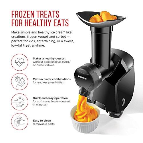 Chefman Frozurt, Frozen Dessert Maker, Healthy, Dairy Free, Vegan Ice Cream, Soft Serve Frozen Yogurt, Fruit Sorbet Sherbet Machine, Simple One Push Operation, Black